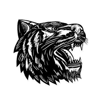 Growling Tiger Woodcut Black and White by patrimonio