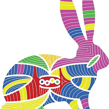 colorful rabbit abstract isolated on a white backgrounds by staselnik