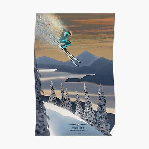 Art de ski de poudre Poster
