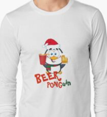 Funny Beer Pong Penguin Christmas Item - Ponguin T-Shirt