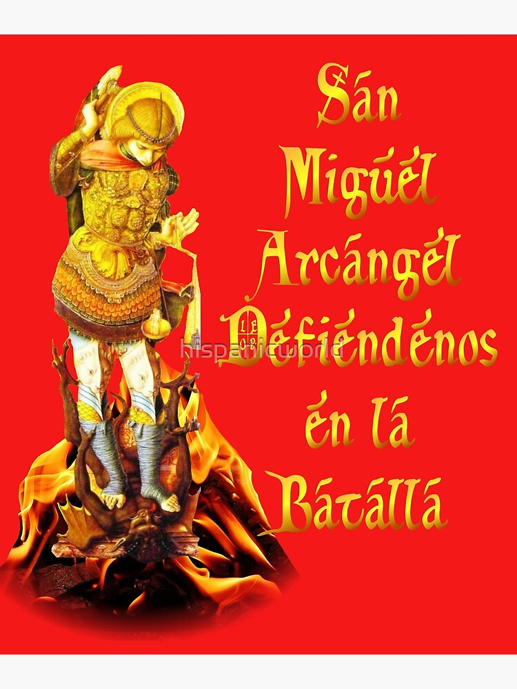 picture relating to St. Michael the Archangel Prayer Printable identify San Miguel Arcangel Spanish St Michael the Archangel Prayer Canvas Print