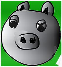 green piggy grey scale Poster
