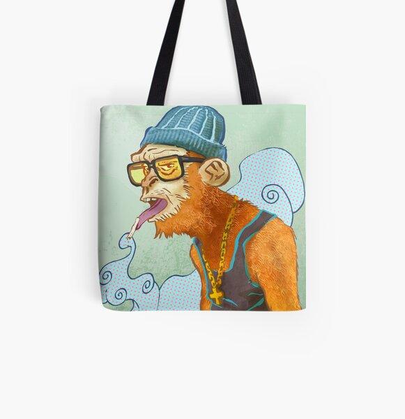 Monkey Smoke All Over Print Tote Bag