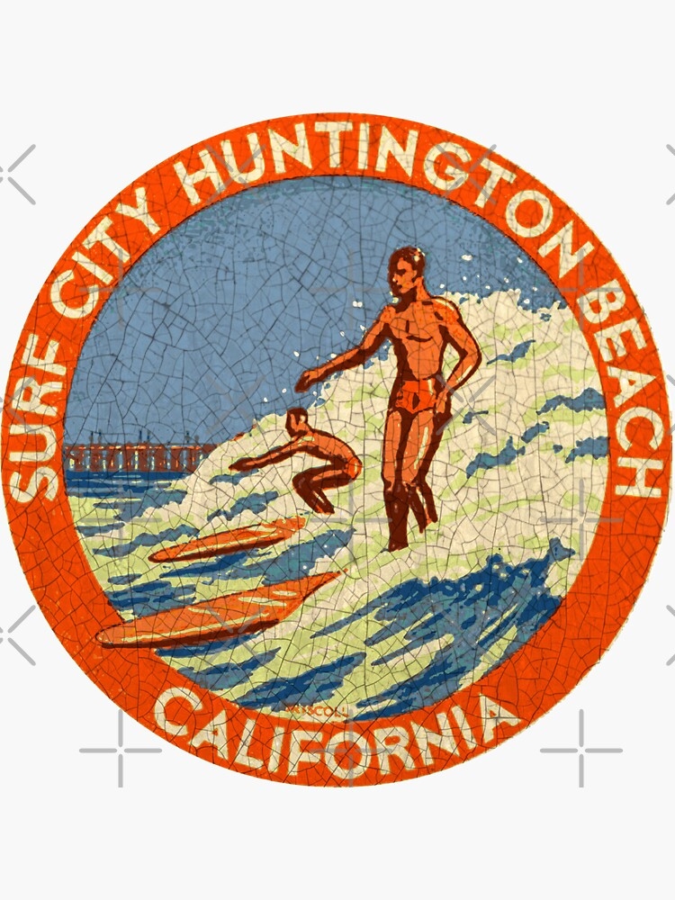 «Décalque vintage Huntington Beach Surf California USA» par midcenturydave