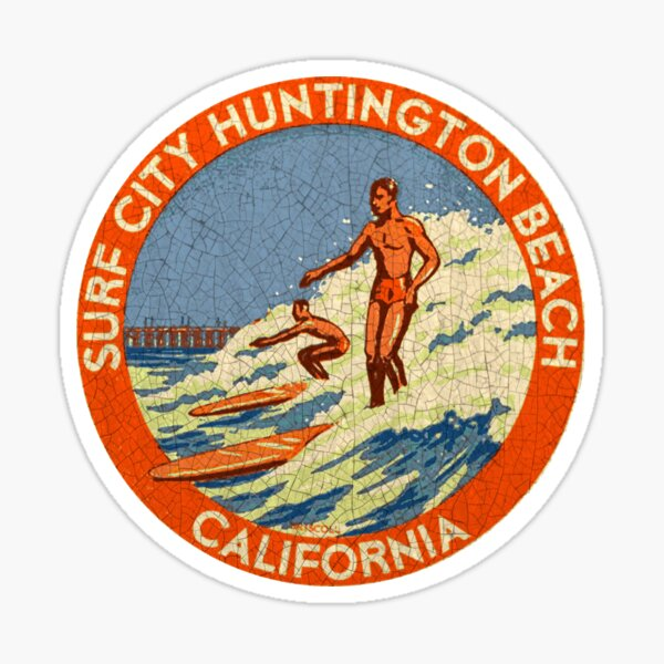 Huntington Beach Surf California vintage decal USA Sticker