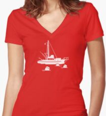 Jaws - Orca with Barrels Women's Fitted V-Neck T-Shirt