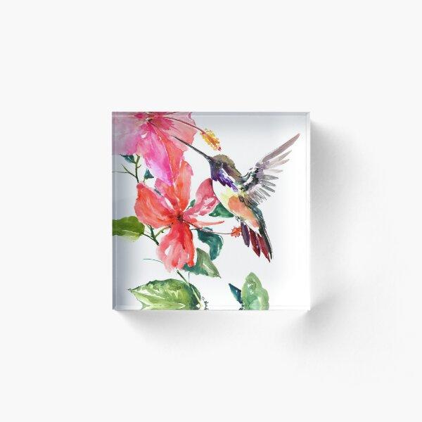 Hummingbird and Hibiscus Flowers Acrylic Block