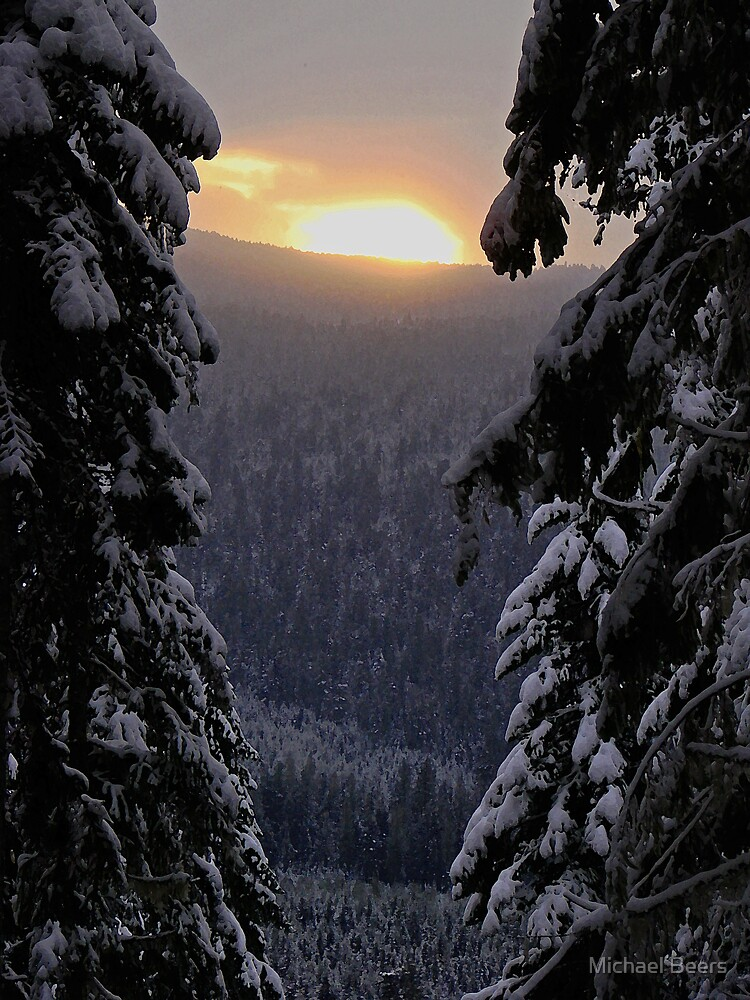 SNOWY SUNRISE OVER THE CASCADES IN WASHINGTON by Michael Beers