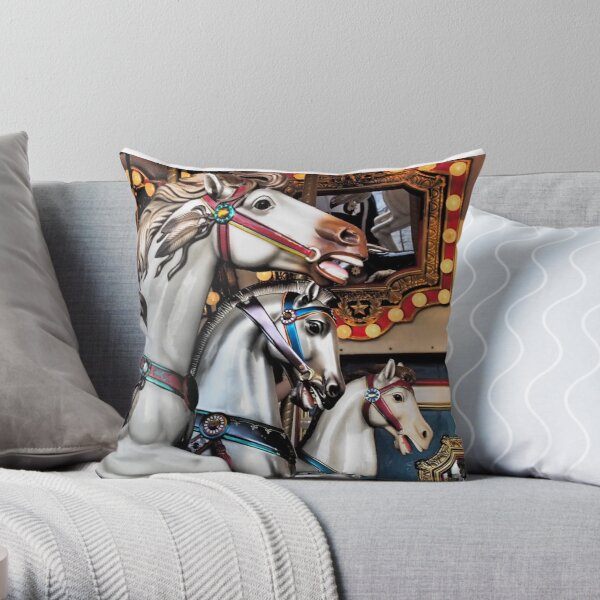 Vintage Horse Carousel Merry-Go-Round Carnival Ride  Throw Pillow
