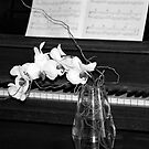 Piano in Black & White with Orchid by Kristin Hamm