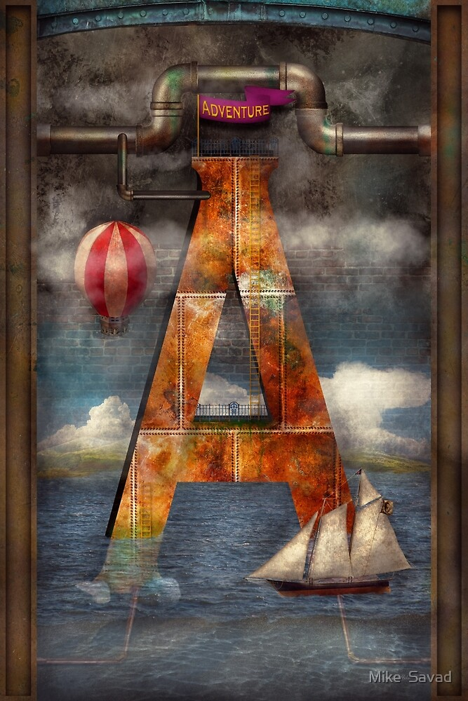 Steampunk - Alphabet - A is for Adventure by Michael Savad