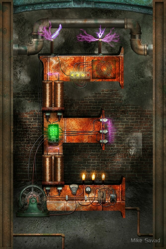 Steampunk - Alphabet - E is for Electricty by Michael Savad