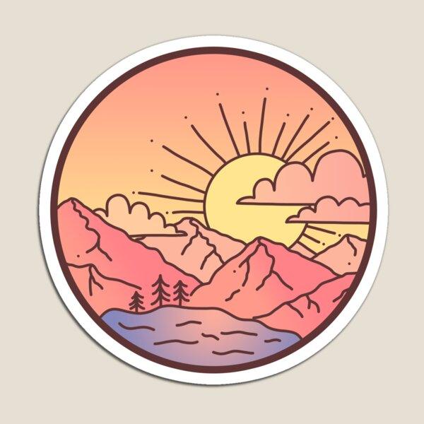 Sonnenuntergangsberge Magnet