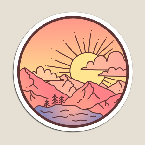 Sunset Mountains Magnet