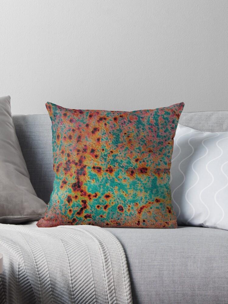 Awe Inspiring Orange And Aqua Rust Throw Pillow By Masha Gr Theyellowbook Wood Chair Design Ideas Theyellowbookinfo