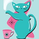 Retro Cat Tea by prouddaydreamer