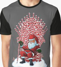 Christmas Is Coming Santa Candy Cane Throne T-Shirt Graphic T-Shirt