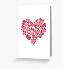 Colored pencils gem heart Greeting Card