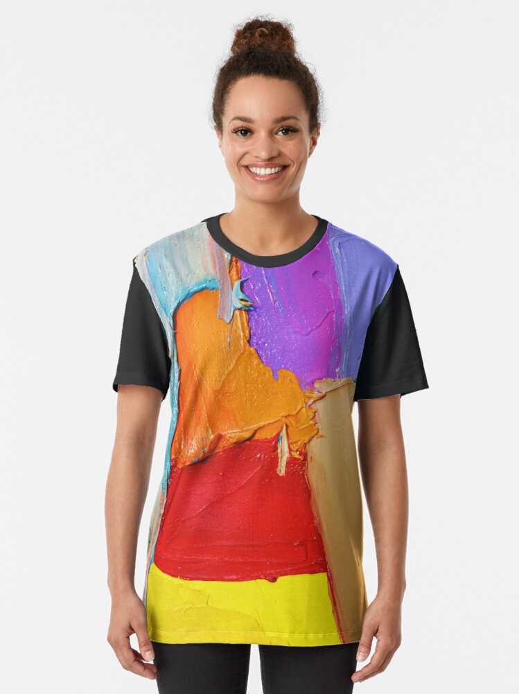 Alternate view of Thick Paint Texture Graphic T-Shirt