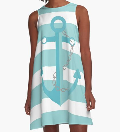 AFE Nautical Aqua Ship Anchor A-Line Dress