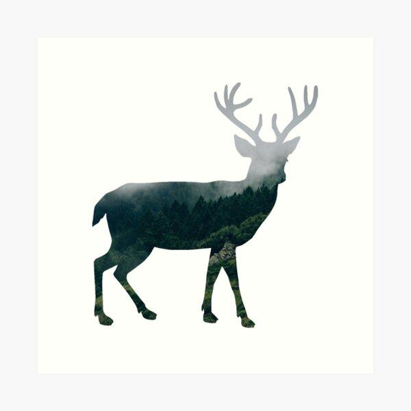 Buck Deer with Misty Evergreen Forest Woods Silhouette - Spirit of the Wild .  Art Print