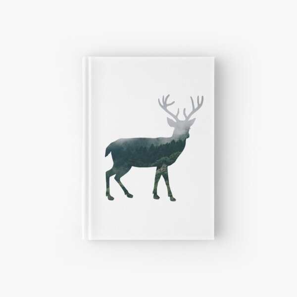 Buck Deer with Misty Evergreen Forest Woods Silhouette - Spirit of the Wild .  Hardcover Journal