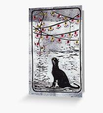 Christmas Lights Black Cat Greeting Card