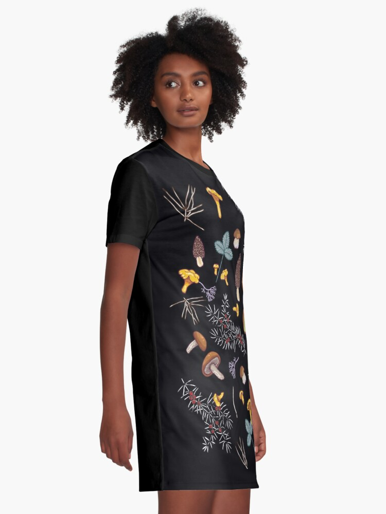 Alternate view of dark wild forest mushrooms Graphic T-Shirt Dress