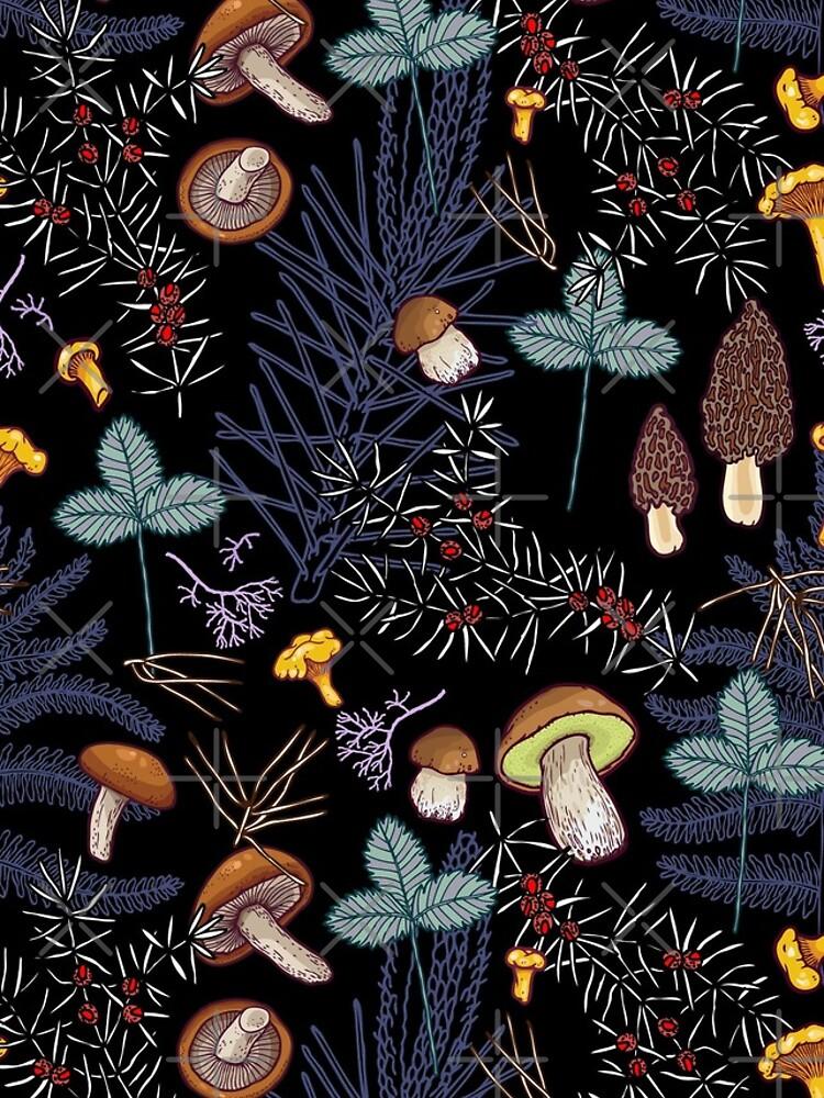 dark wild forest mushrooms by smalldrawing