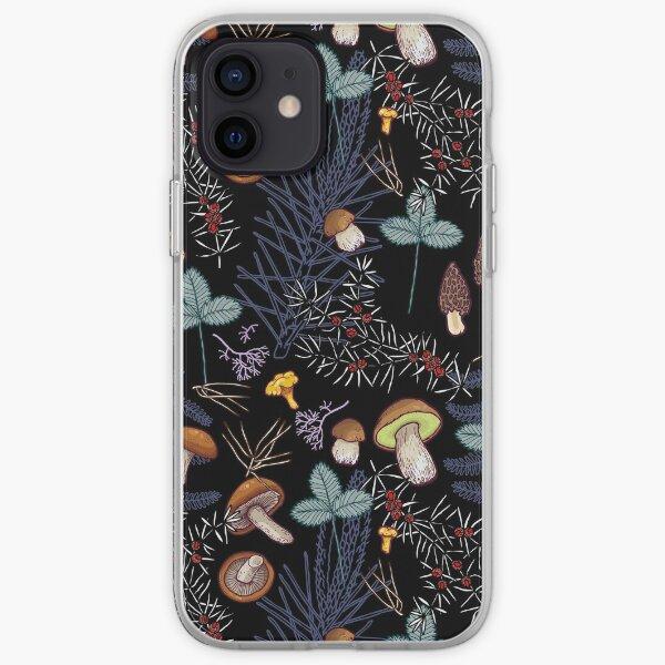 dark wild forest mushrooms iPhone Soft Case