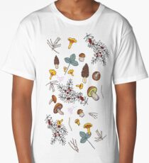dark wild forest mushrooms Long T-Shirt