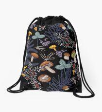 dark wild forest mushrooms Drawstring Bag
