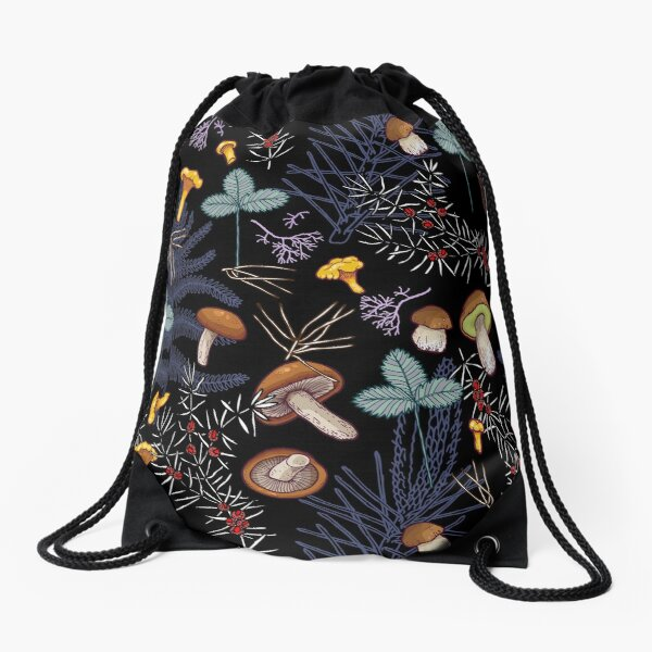 dark wild forest mushrooms Drawstring Bag