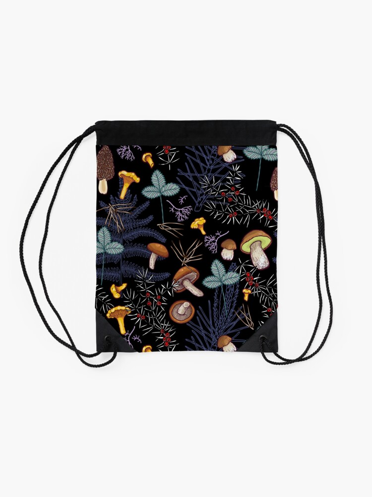 Alternate view of dark wild forest mushrooms Drawstring Bag