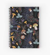dark wild forest mushrooms Spiral Notebook