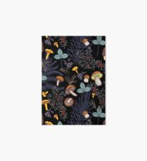 dark wild forest mushrooms Art Board