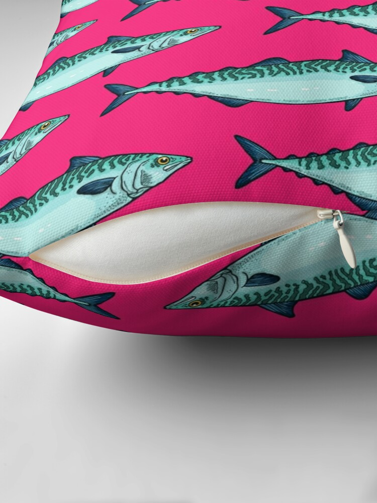Alternate view of Tasty mackerel pattern Throw Pillow