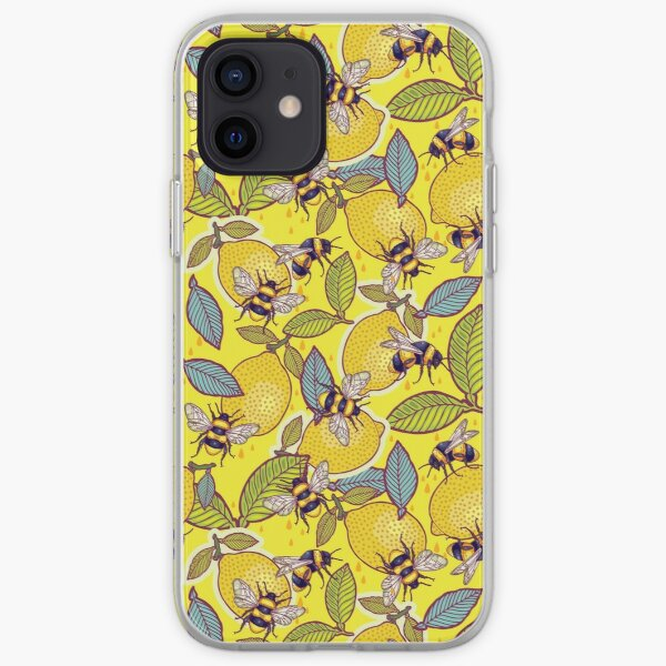 Yellow lemon and bee garden. iPhone Soft Case
