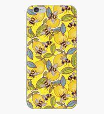 Vinilo o funda para iPhone Amarillo limón y jardín de abejas.