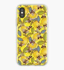 Yellow lemon and bee garden. iPhone Case