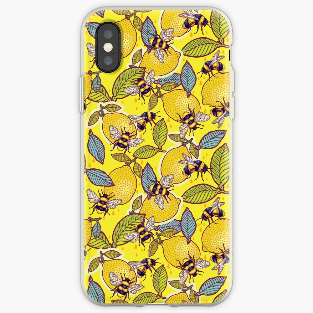 Yellow lemon and bee garden. iPhone Cases & Covers