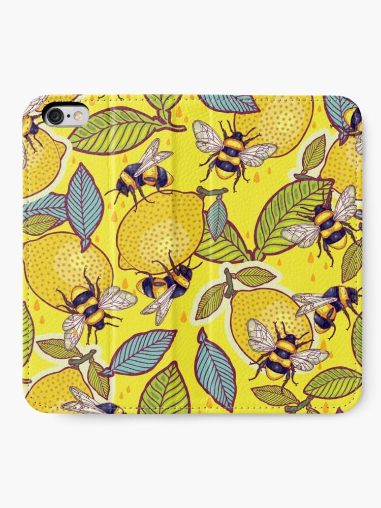 Alternate view of Yellow lemon and bee garden. iPhone Wallet