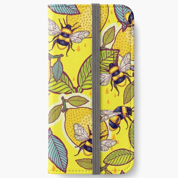 Yellow lemon and bee garden. iPhone Wallet