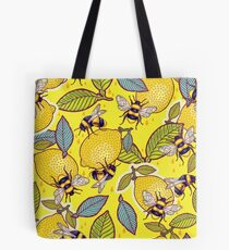 Yellow lemon and bee garden. Tote Bag