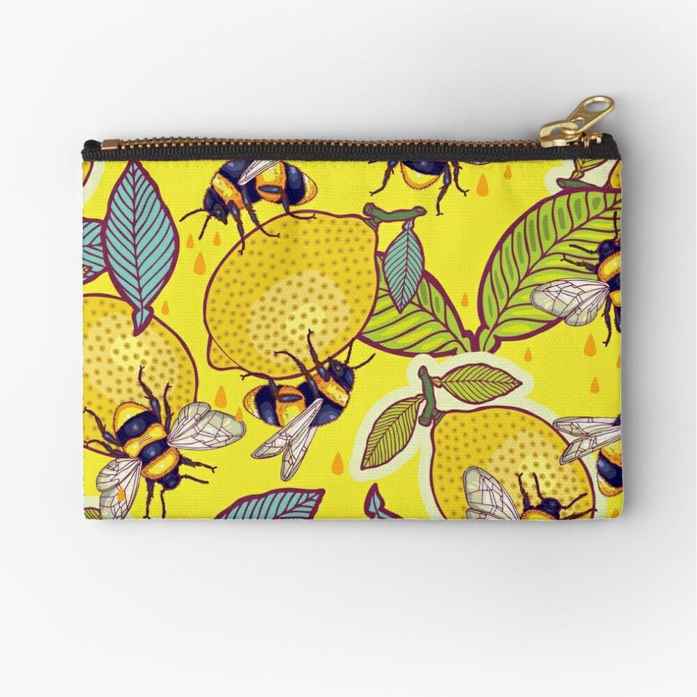 Yellow lemon and bee garden. Zipper Pouch