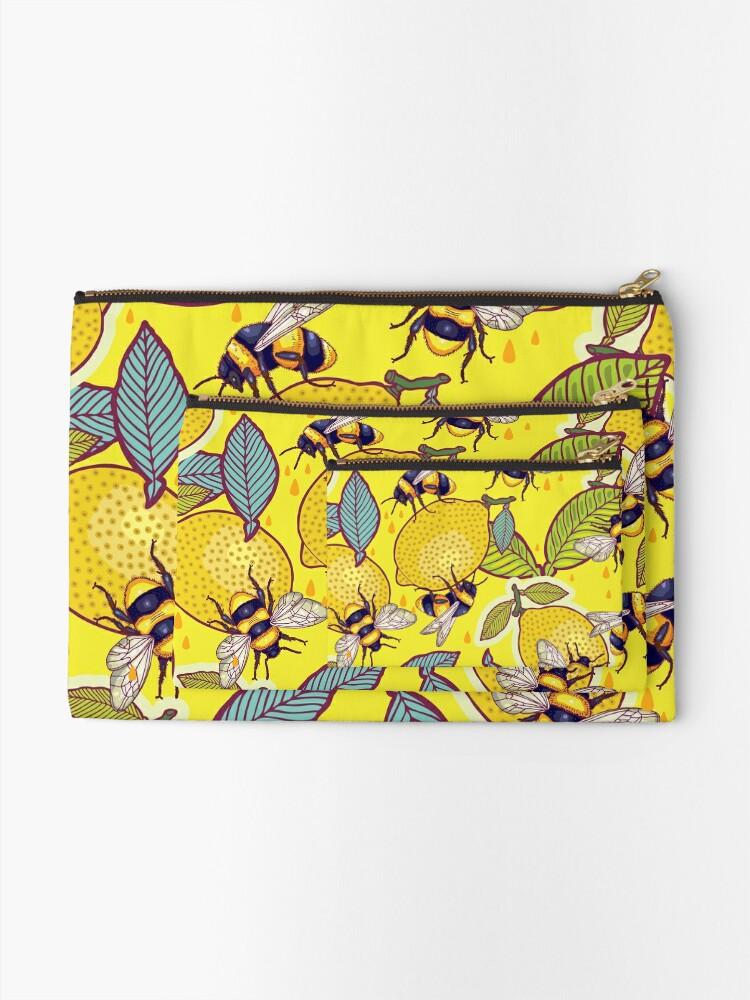 Alternate view of Yellow lemon and bee garden. Zipper Pouch