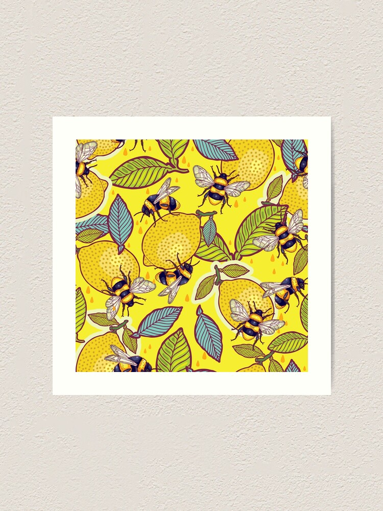 Alternate view of Yellow lemon and bee garden. Art Print