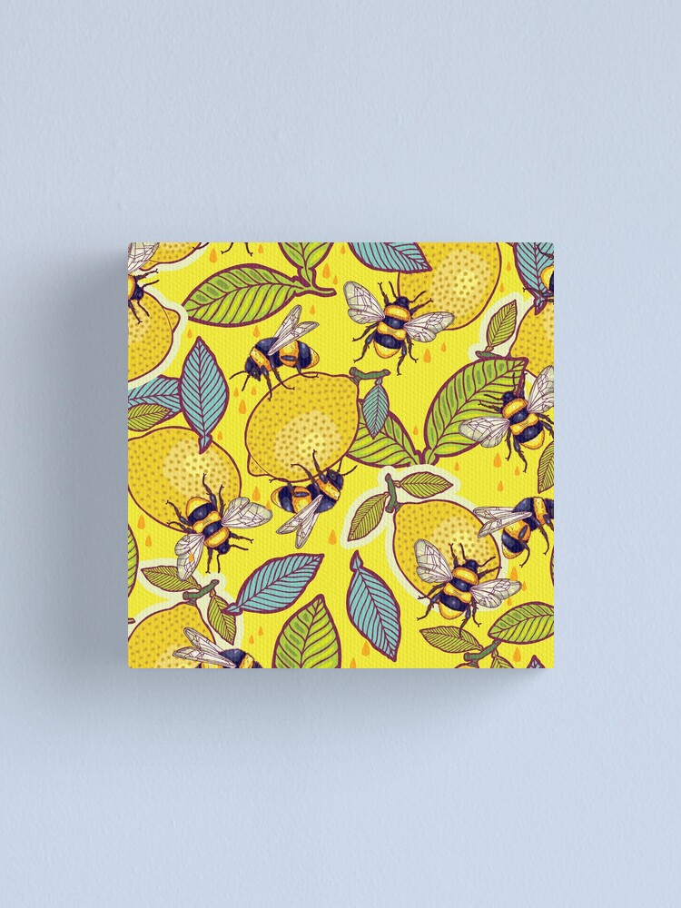 Alternate view of Yellow lemon and bee garden. Canvas Print