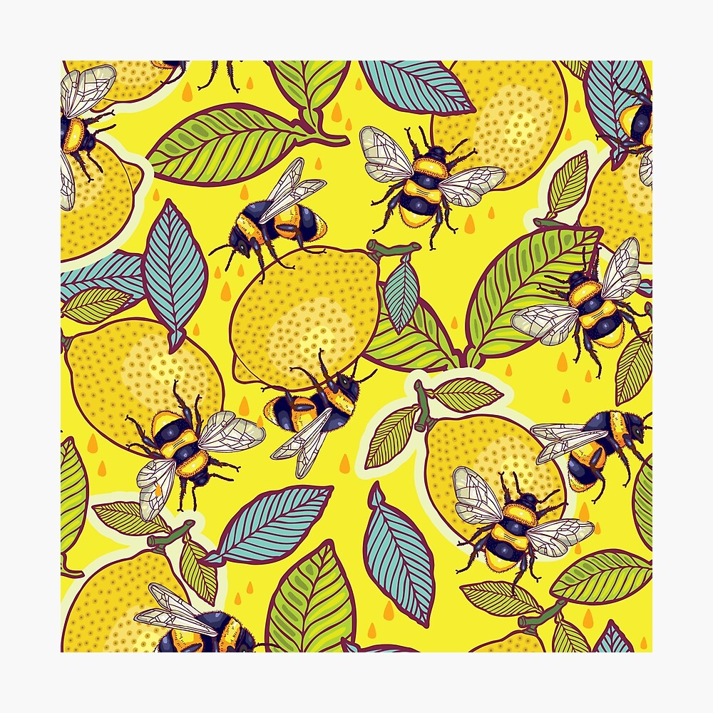 Yellow lemon and bee garden. Photographic Print