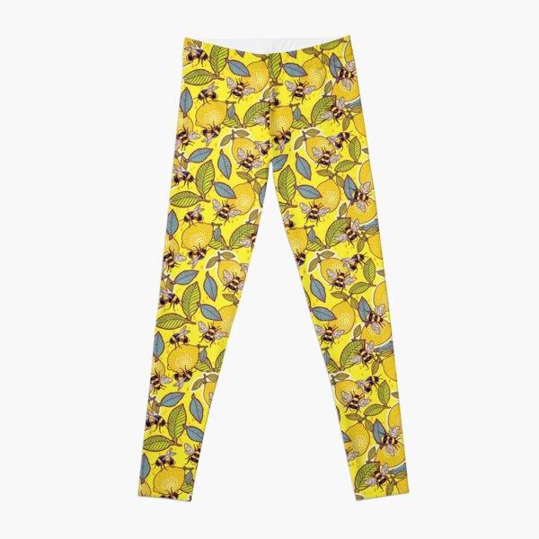 Yellow lemon and bee garden. Leggings